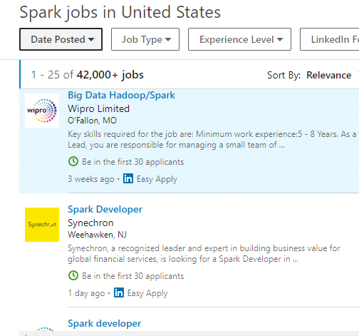 spark jobs in USA