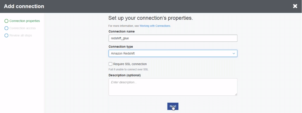 setting up connection in AWS Glue